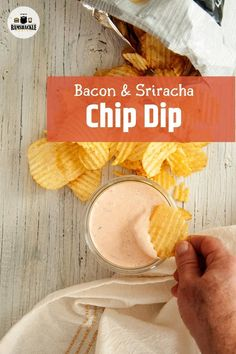 This is an easy, homemade Bacon and Sriracha chip dip. It has the spice of sriracha and the savory goodness of beautiful bacon. The best part is that this chip dip can be put together in minutes AND it tastes so dang good. Perfect for potato chips and perfect for any game day appetizer needs.