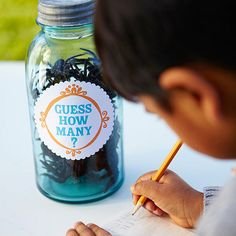 "Add a ""Guess How Many"" jar for the kids table... for the kids to guess while mom and dad check in. :) Maybe one for the parents too. :)"