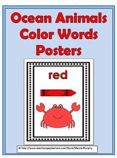 Ocean Animals Color Words Posters