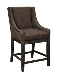 Moriann - Dark Brown - Upholstered Barstool (Set of 2) $290.00  (List Price $560)   @SimplyHome in the Hickory Furniture Mart, Hickory, NC 828-855-3711   Moriann - Dark Brown - Upholstered Barstool (Set of 2)