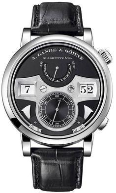 A Lange & Soehne Zeitwerk Striking Time 145.029 Black Leather Strap Manual Watch #ALangeSohne #LuxuryDressStyles
