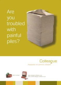 Painful piles colleague software advert