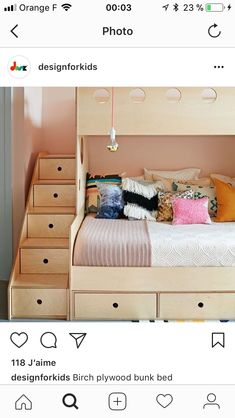 Benjamin Moore's seashell-pink Odessa paint was used in the girls' bedroom. Benjamin Moore's seashell-pink Odessa paint was used in the girls' bedroom. The birch plywood bunk bed is by Brooklyn-based Casa Kids. Bunk Beds With Storage, Kids Bunk Beds, Cool Bunk Beds, Toy Storage, Extra Storage, Casa Kids, Bed Frame Design, Kids Bed Design, Modern Bunk Beds