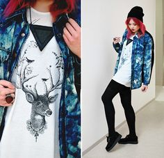 Neff Beanie, Chicnova Sheer Triangle Necklace, Ring, Clorite Dyed Denim Jacket, Deer Top, Shorts, Underground Creepers