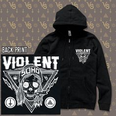 Band Merch, Soho, Zip Ups, Skull, Collections, Hoodies, Sweaters, Products, Fashion