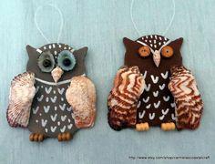 Set of 2 beach owl ornaments_Beach decor_seaside fall decor ornaments