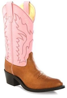 Girls Leather Cowboy Boots in Pink & Brown