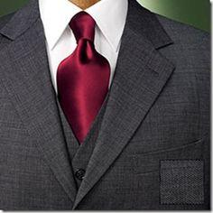 winter wedding - gray suit tuxedo with cranberry tie.