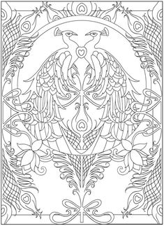 Ideas For Colorful Bird Drawing Dover Publications Adult Coloring Pages, Animal Coloring Pages, Printable Coloring Pages, Colouring Pages, Coloring Books, Peacock Design, Bird Drawings, Colorful Pictures, Zentangle
