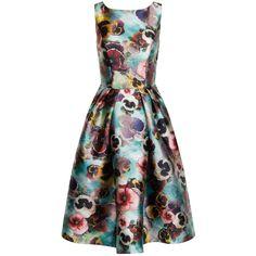 Chi Chi London Floral Print Midi Dress ($91) ❤ liked on Polyvore featuring dresses, women, print midi dress, collar dress, print prom dresses, vintage style dresses and midi dress