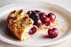 {Cherry and almond crostata} Fold the rich, crumbly pastry over whole cherries for a decadent dessert. Crostata Recipe, Cherry Liqueur, Sweet Pie, Almond Recipes, Tray Bakes, A Food, Food Processor Recipes, Cherries, Meals