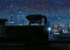 """Artist: Stephen Magsig Title: """"Nocturne in Blue""""  Year: 2014 Painting Subject: Industrial Detroit"""