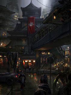 Neo Edo by Eddie Mendoza : Cyberpunk Fantasy Art Landscapes, Fantasy Landscape, Fantasy City, Sci Fi Fantasy, Environment Concept Art, Environment Design, Digital Painting App, Digital Art, Arte Cyberpunk