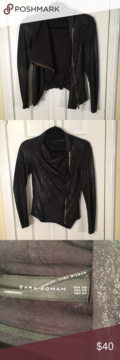Zara size xs black faux leather jacket Signs of wear but decent condition Zara Jackets & Coats Blazers