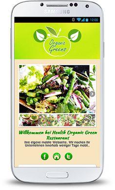 Komplette mobile Webseite für Vegetarische Restaurants. Individuell auf Ihre Bedürfnisse angepasst und speziell für Smartphones und andere Mobilgeräte entwickelt.