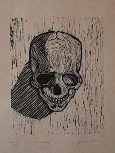 HandPulled Woodcut Skull no. 8 by RogerWalkup on Etsy,