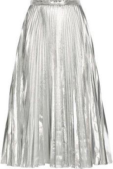 Pleated metallic taffeta midi skirt