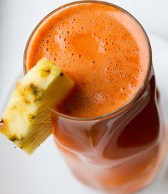 Good morning juice:   - 2 cups chopped pineapple  - 2-3 medium carrots  - 3 stalks celery  - 1 Tbsp ginger