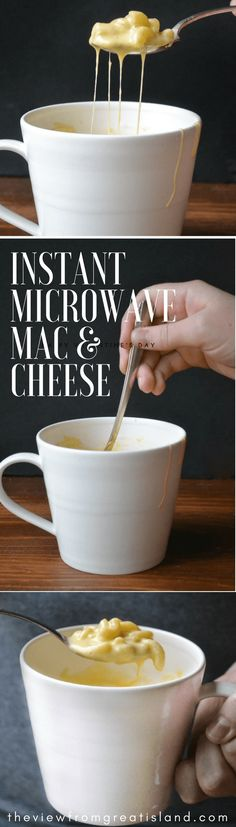Instant Microwave Macaroni and Cheese in a Mug is a total game changer ~ this easy recipe makes a single serving ultra creamy mug of cheesy macaroni in just minutes! Cheesy Mac And Cheese, Mac Cheese, Macaroni And Cheese, Easy Dinner Recipes, Pasta Recipes, Cooking Recipes, Dinner Ideas, Cheese Recipes, Cooking Ideas