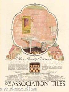 something like this for our bathroom art Vintage Advertisements, Vintage Ads, Vintage Decor, Vintage Pink, Bathroom Art, 1920s Bathroom, Beaver Homes, Beaver Falls, Porch Flooring