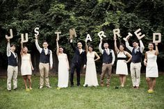 "Celebrate your ""just married"" status with wooden letters."