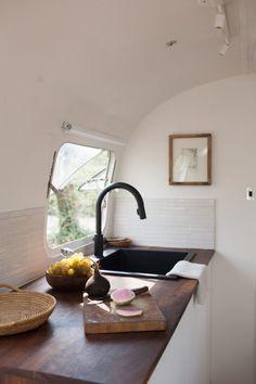 modern caravan airstream remodel kitchen sink