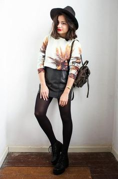 30 ways to wear a black leather skirt - graphic sweater + hose // Gladys Doris Dave