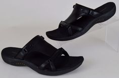 Merrell Glade Women's Black Leather Slides Sport Sandals Slip-on Shoes Size 9 #Merrell #SportSandals #Casual
