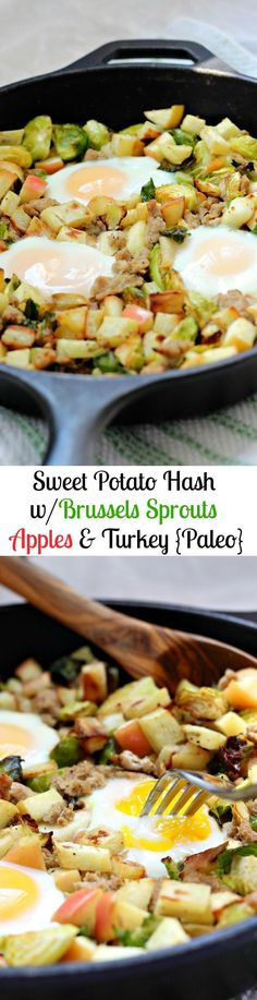 Paleo and Whole30 friendly roasted sweet potato and brussels sprouts hash with turkey and apples for a sweet and savory healthy breakfast or brunch!