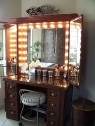 Custom Make up Vanity with Hollywood Lights