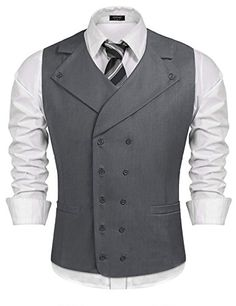 Buy Coofandy Men Suit Vest Solid Double Breasted Slim Fit Business Dress Waistcoat, Gray, Large at Discounted Prices ✓ FREE DELIVERY possible on eligible purchases. Large Men Fashion, Mens Suit Vest, Waistcoat Men Casual, Suit Jacket, Mens Fashion Suits, Man Fashion, Fashion Rings, Fashion Clothes, Fashion Boots