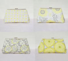 4 Set Lemon Yellow Clutch Floral Bridesmaid Clutch by SheetaDesign Bride Clutch Bridal Purse Bridesmaid Gift Kisslock Clutch Wedding Clutch on Etsy, US$160.00