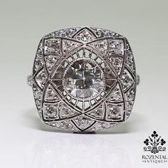 Antique Art Deco Platinum 1ctw Diamond Ring | eBay