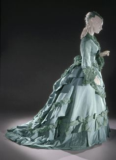 Early 1870s, France - Woman's Dress: Day Bodice, Evening Bodice, and Skirt by Charles Frederick Worth - Pale turquoise silk satin