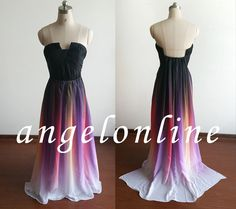Boho Gradient Color Long Chiffon Evening by Angelonlinedress