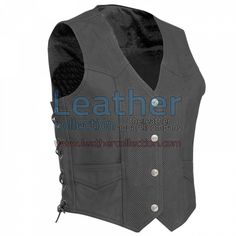 Perforated Motorcycle Leather Vest for $87.50 - https://www.leathercollection.com/en-we/perforated-motorcycle-leather-vest.html