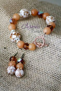 Elegant natural stone bracelet earring set. by AdornasBoutique, $20.00