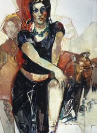 "Carla O'Connor (American watercolor painter)   ""Sacred Stones"" ~  gouache"