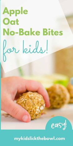 healthy apple oat no bake bites Apple Oat Energy Bites are an easy healthy snack for kids, perfect for life on the go Apple Snacks, Apple Recipes, Baby Food Recipes, Healthy Recipes, Healthy Breakfasts, Kid Recipes, Easy Snacks For Kids, Toddler Snacks, Kids Meals