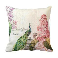 Paris Peacock Throw Pillow