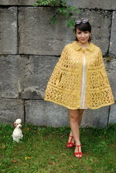 1960s fall cape....I had one of these in a horrible deep, dark gold color that my mother knitted.