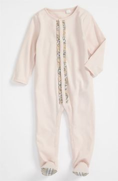 Burberry Footie (Infant) | Nordstrom (girl newborn, with big flower headband)