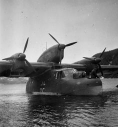 """A shot of a Blohm & Voss BV 138 - Hemnesfjorden - Early May 1940  These planes served the Luftwaffe's mainstaylong-rangemaritimereconnaissanceaircraft, and where often used to bring in supplies and deliver mail to and from.  It was noted that this plane in specific:  """"Arrived safely andtook our letters, but was shot to pieces by an English destroyer and sank just south of Finneidfjord."""""""
