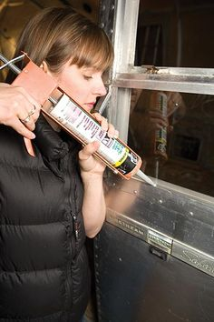 Airstream Restoration: Use only good butyl caulking for your fixed windows. This is also THE type to use for any metal-to-metal patches to the body, vent flashings, or other fixtures exposed to the weather. Vintage Rv, Vintage Airstream, Vintage Travel Trailers, Vintage Campers, Airstream Remodel, Airstream Trailers, Camper Renovation, Shasta Trailer, Shasta Camper
