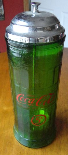 SALE ITEM...Vintage Green Coca Cola Glass Straw Dispenser. $18.00, via Etsy.