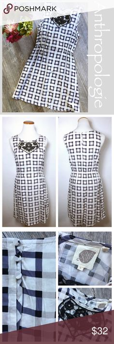 Anthropologie gingham print dress Anthropologie Lilka gingham print sundress. White with purple Plaid print, 2 front pockets, and elastic waist in back and on sides. Back button details with front detail appliqué. Size Small Measurements: 20 inches across the bust. 26 inches from underarm to bottom hem. Bundle in my closet and save. I ship same day or next day almost always! No PayPal's or trades. Suggested user in top-rated seller. Thank you for checking out my closet! Anthropologie Dresses