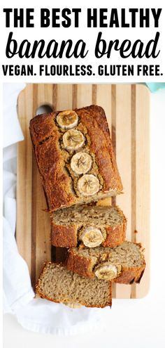 The best, healthy vegan banana bread recipe! Flourless, gluten-free, dairy free, and refined sugar free perfectly moist banana bread from the Nourish & Glow cookbook. // Rhubarbarians #vegan #bananabread #flourless #glutenfree #dairyfree