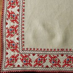 Handmade Bulgarian traditional embroidered table cover by artellya