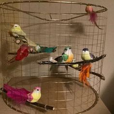Two Artificial Rainbow Birds magnetic Fake Foam Decorative Small Birds, Little Birds, Metal Window Frames, Wire Table, Bird Cake Toppers, Artificial Birds, Cage Light, Bird Cakes, Table Lamps For Bedroom
