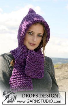 Cachecol com capuz DROPS tricotado com 2 fios Eskimo. Também se pode tricotar com 1 fio « Polaris » ~ DROPS Design
